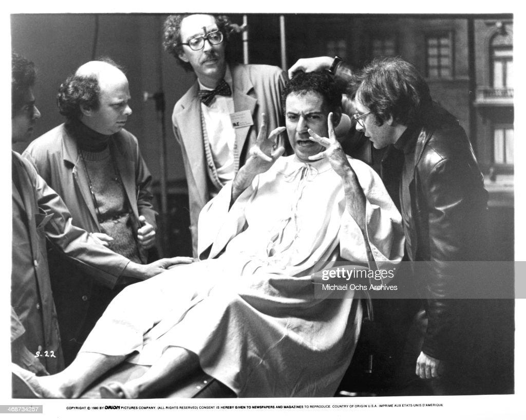 Actors Wallace Shawn William Finley Alan Arkin and Austin Pendleton on set the movie 'Simon' circa 1980