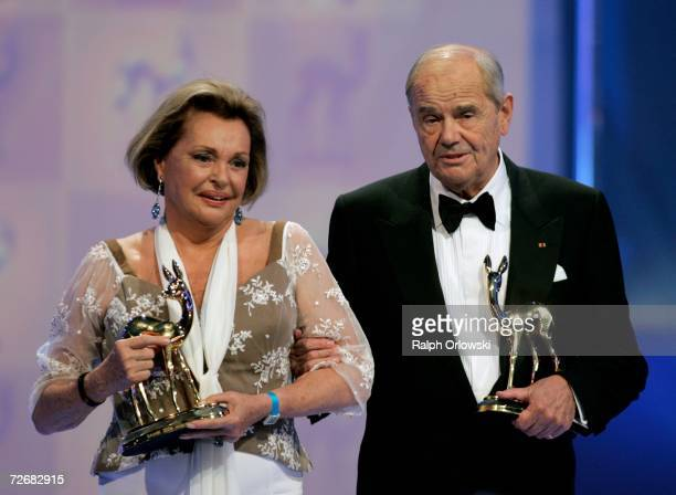 Actors Walter Giller and Nadja Tiller accept their lifetime achievement award at the 58th annual Bambi Awards at the MercedesBenz Museum on November...