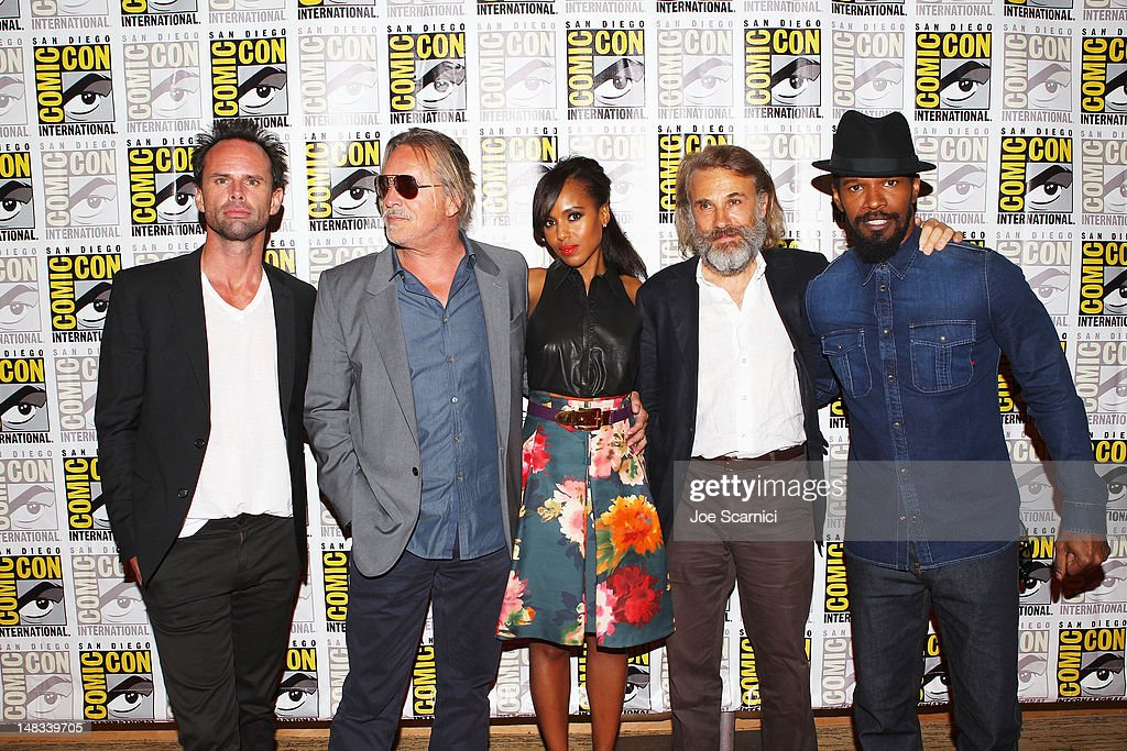 Actors <a gi-track='captionPersonalityLinkClicked' href=/galleries/search?phrase=Walton+Goggins&family=editorial&specificpeople=656067 ng-click='$event.stopPropagation()'>Walton Goggins</a>, <a gi-track='captionPersonalityLinkClicked' href=/galleries/search?phrase=Don+Johnson&family=editorial&specificpeople=211250 ng-click='$event.stopPropagation()'>Don Johnson</a>, <a gi-track='captionPersonalityLinkClicked' href=/galleries/search?phrase=Kerry+Washington&family=editorial&specificpeople=201534 ng-click='$event.stopPropagation()'>Kerry Washington</a>, <a gi-track='captionPersonalityLinkClicked' href=/galleries/search?phrase=Christoph+Waltz&family=editorial&specificpeople=4276914 ng-click='$event.stopPropagation()'>Christoph Waltz</a> and <a gi-track='captionPersonalityLinkClicked' href=/galleries/search?phrase=Jamie+Foxx&family=editorial&specificpeople=201715 ng-click='$event.stopPropagation()'>Jamie Foxx</a> attend 'Django Unchained' at Comic-Con 2012 at Hilton San Diego Bayfront Hotel on July 14, 2012 in San Diego, California.
