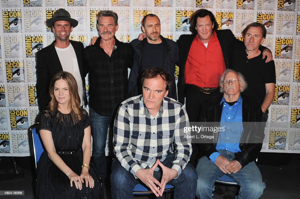 Actors Walton Goggins, Kurt Russell, Demian Bichir, Michael Madsen, and Tim Roth; (L-R front row) actress Jennifer Jason Leigh, writer/director Quentin Tarantino, and actor Bruce Dern attend Quentin Tarantino's 'The Hateful Eight' panel during Comic-Con International 2015 at the San Diego Convention Center on July 11, 2015 in San Diego, California.