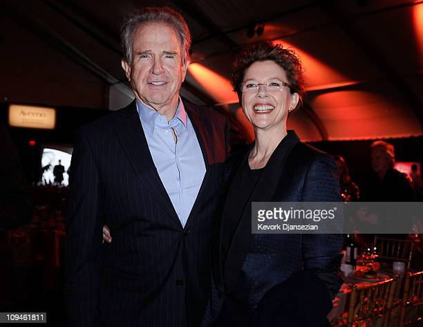 Actors Warren Beatty and Annette Bening during the 2011 Film Independent Spirit Awards at Santa Monica Beach on February 26 2011 in Santa Monica...