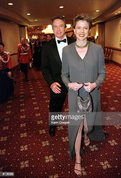 Actors Warren Beatty and his wife actress Annette Bening arrive for the annual White House Correspondents Association Dinner at the Washington Hilton...
