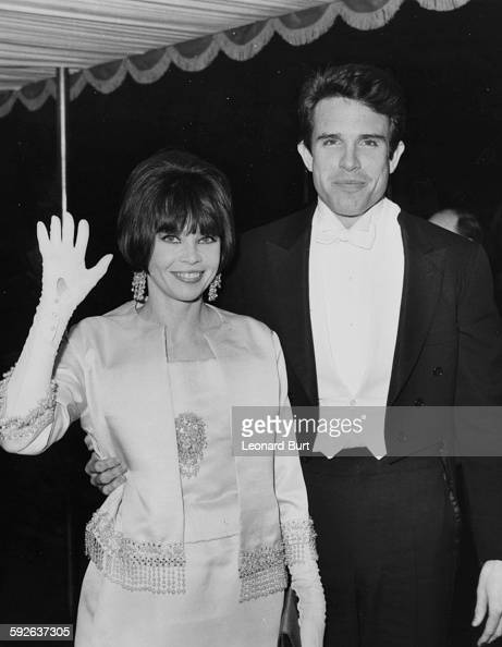 Actors Warren Beatty and Leslie Caron arriving for the Royal premiere of the film 'Born Free' at the Odeon in Leicester Square London March 16th 1966
