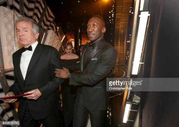 Actors Warren Beatty and Mahershala Ali backstage during the 89th Annual Academy Awards at Hollywood Highland Center on February 26 2017 in Hollywood...
