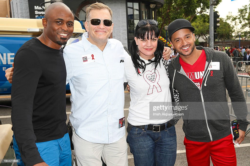 Actors <a gi-track='captionPersonalityLinkClicked' href=/galleries/search?phrase=Wayne+Brady+-+Actor&family=editorial&specificpeople=217495 ng-click='$event.stopPropagation()'>Wayne Brady</a>, <a gi-track='captionPersonalityLinkClicked' href=/galleries/search?phrase=Drew+Carey&family=editorial&specificpeople=213727 ng-click='$event.stopPropagation()'>Drew Carey</a>, <a gi-track='captionPersonalityLinkClicked' href=/galleries/search?phrase=Pauley+Perrette&family=editorial&specificpeople=625846 ng-click='$event.stopPropagation()'>Pauley Perrette</a>, and <a gi-track='captionPersonalityLinkClicked' href=/galleries/search?phrase=Jai+Rodriguez+-+Actor&family=editorial&specificpeople=202956 ng-click='$event.stopPropagation()'>Jai Rodriguez</a> attend the 29th Annual AIDS Walk LA on October 13, 2013 in West Hollywood, California.
