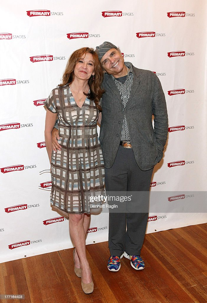 Actors Wendy Makkena and <a gi-track='captionPersonalityLinkClicked' href=/galleries/search?phrase=Joe+Pantoliano&family=editorial&specificpeople=203313 ng-click='$event.stopPropagation()'>Joe Pantoliano</a> attend the cast meet and greet for the upcoming Off-Broadway production 'Bronx Bombers' at Playwrights Horizons Rehearsal Studios on August 21, 2013 in New York City.
