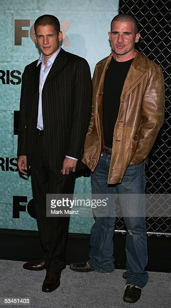 Actors Wentworth Miller and Dominic Purcell attends the 'Prison Break' premiere party at Hanger 8 on August 22 2005 in Los Angeles California