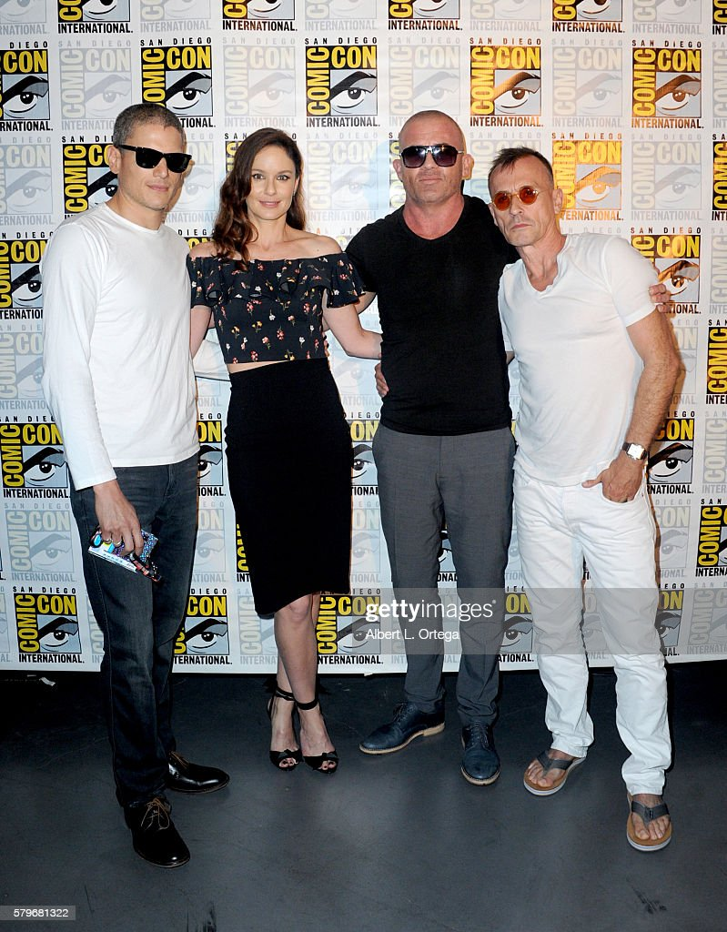 Actors Wentworth Miller Sarah Wayne Callies Dominic Purcell and Robert Knepper attend the Fox Action Showcase 'Prison Break' And '24 Legacy' during...