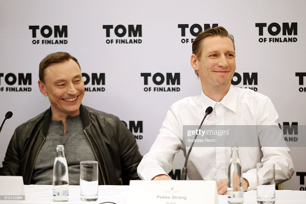 Actors Werner Daehn and Pekka Strang attend the 'Tom of Finland' press conference during the 66th Berlinale International Film Festival Berlin at Ritz Carlton on February 14, 2016 in Berlin, Germany.