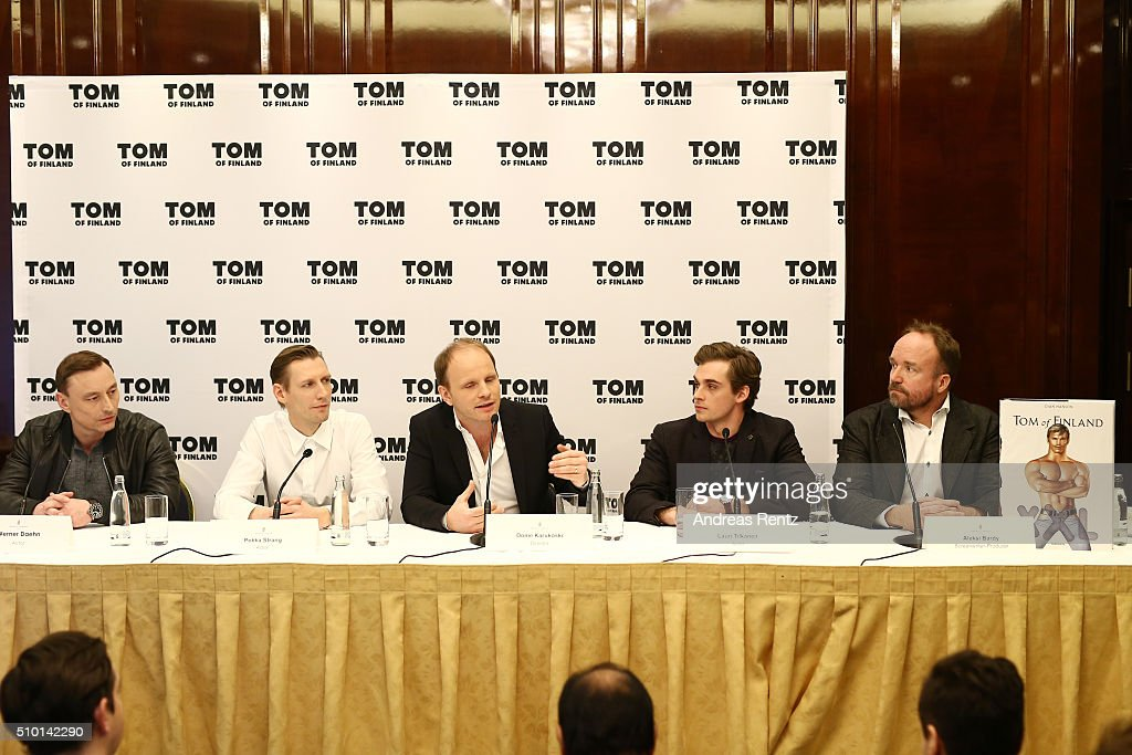 Actors Werner Daehn, Pekka Strang, director Dome Karukoski, actor Lauri Tilkanen and producer Aleksi Bardy attend the 'Tom of Finland' press conference during the 66th Berlinale International Film Festival Berlin at Ritz Carlton on February 14, 2016 in Berlin, Germany.