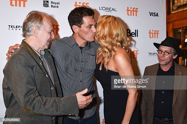 Actors Werner Herzog Veronica Ferres Michael Shannon and Lawrence Krauss attend the 'Salt and Fire' premiere during the 2016 Toronto International...
