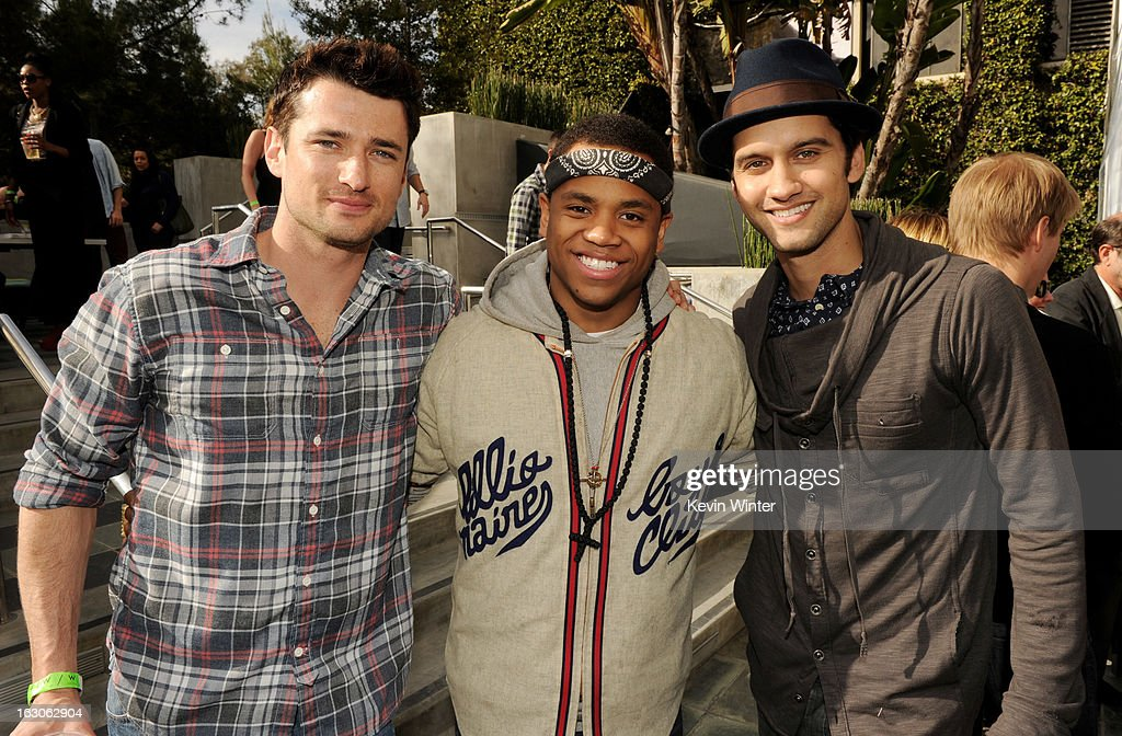 Actors Wes Brown, Tristan Wilds and Michael Steger pose at the CW Network's '90210' Season 5 Wrap Party on March 3, 2013 in Los Angeles, California.