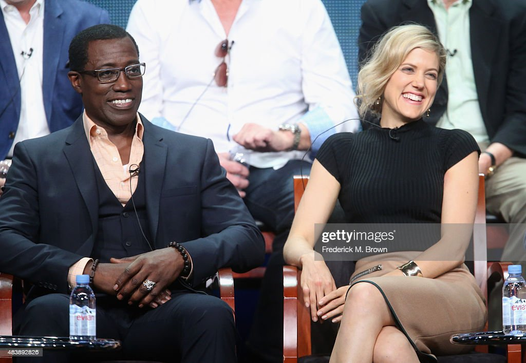 Actors Wesley Snipes and Charity Wakefield speak onstage during NBC's 'The Player' panel discussion at the NBCUniversal portion of the 2015 Summer TCA Tour at The Beverly Hilton Hotel on August 13, 2015 in Beverly Hills, California.