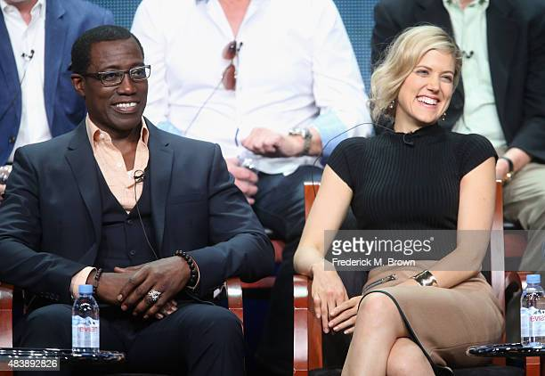 Actors Wesley Snipes and Charity Wakefield speak onstage during NBC's 'The Player' panel discussion at the NBCUniversal portion of the 2015 Summer...