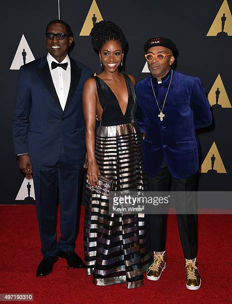 Actors Wesley Snipes Teyonah Parris and filmmaker Spike Lee attend the Academy of Motion Picture Arts and Sciences' 7th annual Governors Awards at...