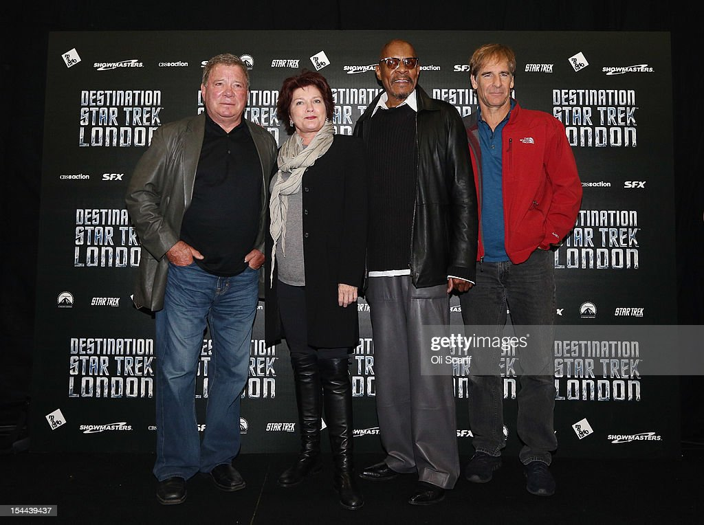 Actors who played Captains in the Star Trek series pose for a photograph at the 'Destination Star Trek London' convention at the ExCeL centre on October 19, 2012 in London, England. The three-day convention, which opened to the general public today, will be attended by all fives actors who played captains throughout the 46 year-old series. From left to right: <a gi-track='captionPersonalityLinkClicked' href=/galleries/search?phrase=William+Shatner&family=editorial&specificpeople=202461 ng-click='$event.stopPropagation()'>William Shatner</a>, <a gi-track='captionPersonalityLinkClicked' href=/galleries/search?phrase=Kate+Mulgrew&family=editorial&specificpeople=233496 ng-click='$event.stopPropagation()'>Kate Mulgrew</a>, <a gi-track='captionPersonalityLinkClicked' href=/galleries/search?phrase=Avery+Brooks&family=editorial&specificpeople=810609 ng-click='$event.stopPropagation()'>Avery Brooks</a>, <a gi-track='captionPersonalityLinkClicked' href=/galleries/search?phrase=Scott+Bakula&family=editorial&specificpeople=217589 ng-click='$event.stopPropagation()'>Scott Bakula</a>.