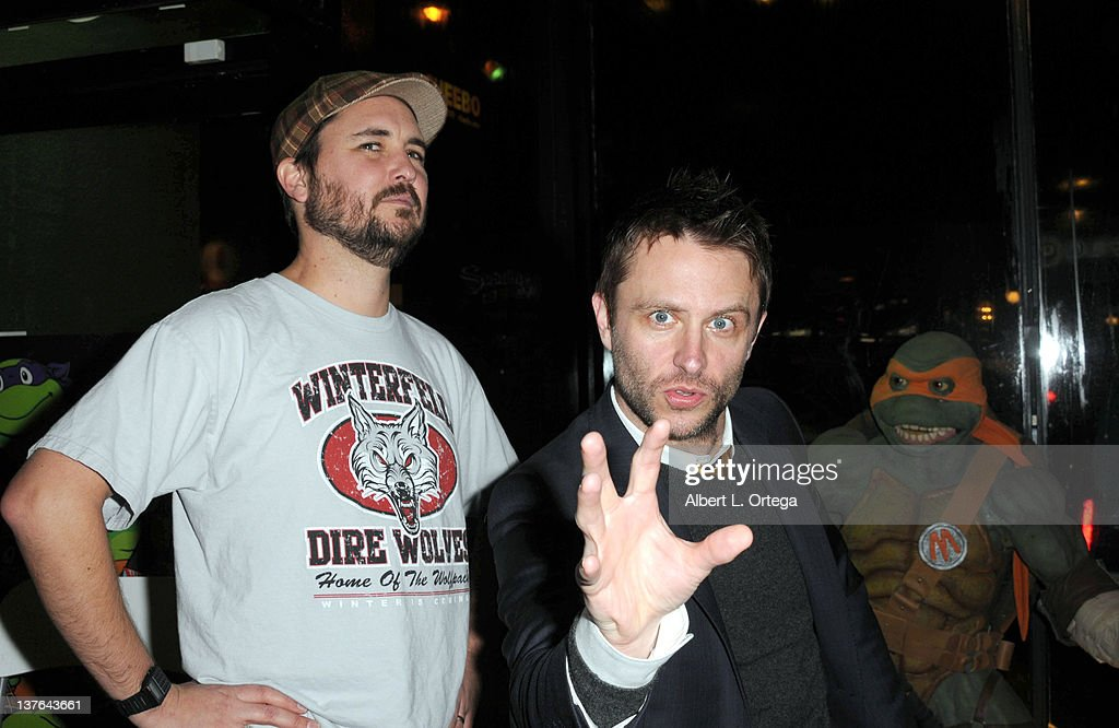 Actors Wil Wheaton and Chris Hardwick at the Chris Hardwick Book Release Party for 'The Nerdist Way' with a reading QA and signing held at Meltdown...