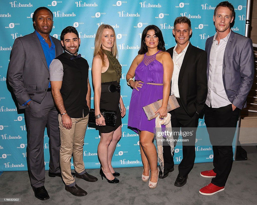Actors Wiley B. Oscar, Matt Palazzolo, Holly Holstein, Fernanda Espindola, Nathan Frizzell, and Sean Hemeon attend the premiere of CW Seed's 'Husbands' at The Paley Center for Media on August 14, 2013 in Beverly Hills, California.