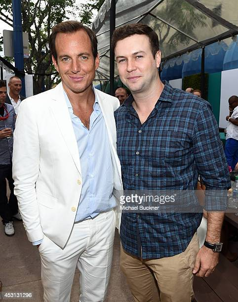 Actors Will Arnett and Taran Killam attend the premiere of Paramount Pictures' 'Teenage Mutant Ninja Turtles' block party on August 3 2014 in...