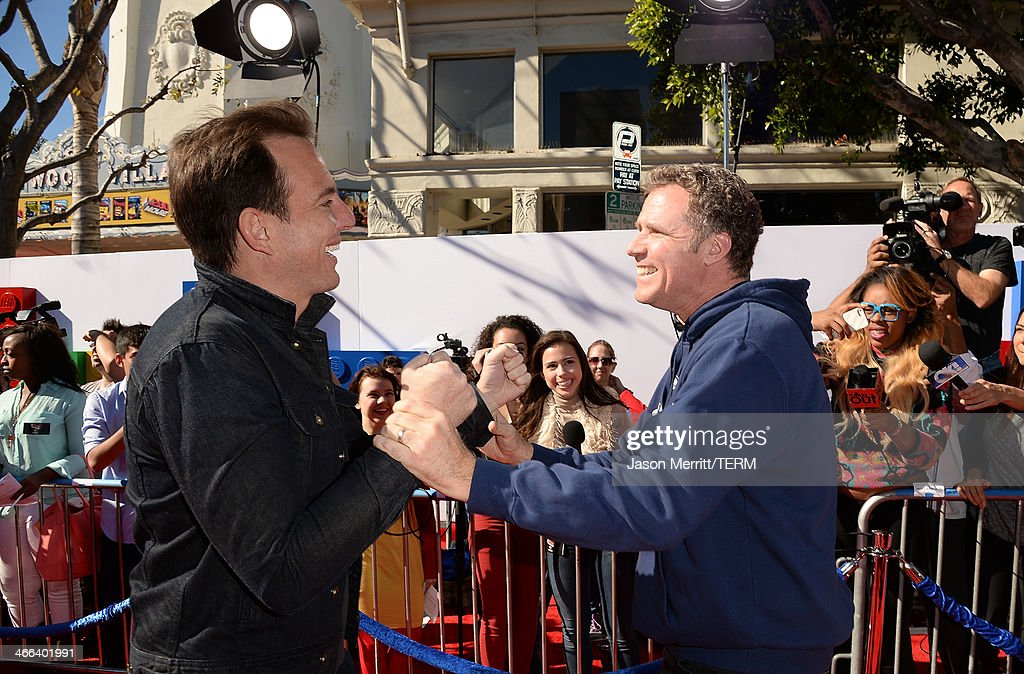 Actors <a gi-track='captionPersonalityLinkClicked' href=/galleries/search?phrase=Will+Arnett&family=editorial&specificpeople=209259 ng-click='$event.stopPropagation()'>Will Arnett</a> and <a gi-track='captionPersonalityLinkClicked' href=/galleries/search?phrase=Will+Ferrell&family=editorial&specificpeople=171995 ng-click='$event.stopPropagation()'>Will Ferrell</a> attend the premiere of 'The LEGO Movie' at Regency Village Theatre on February 1, 2014 in Westwood, California.