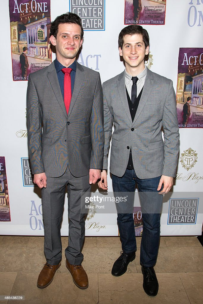 Actors Will Brill (L) and Steven Kaplan attend the opening night party for 'Act One' at The Plaza Hotel on April 17, 2014 in New York City.