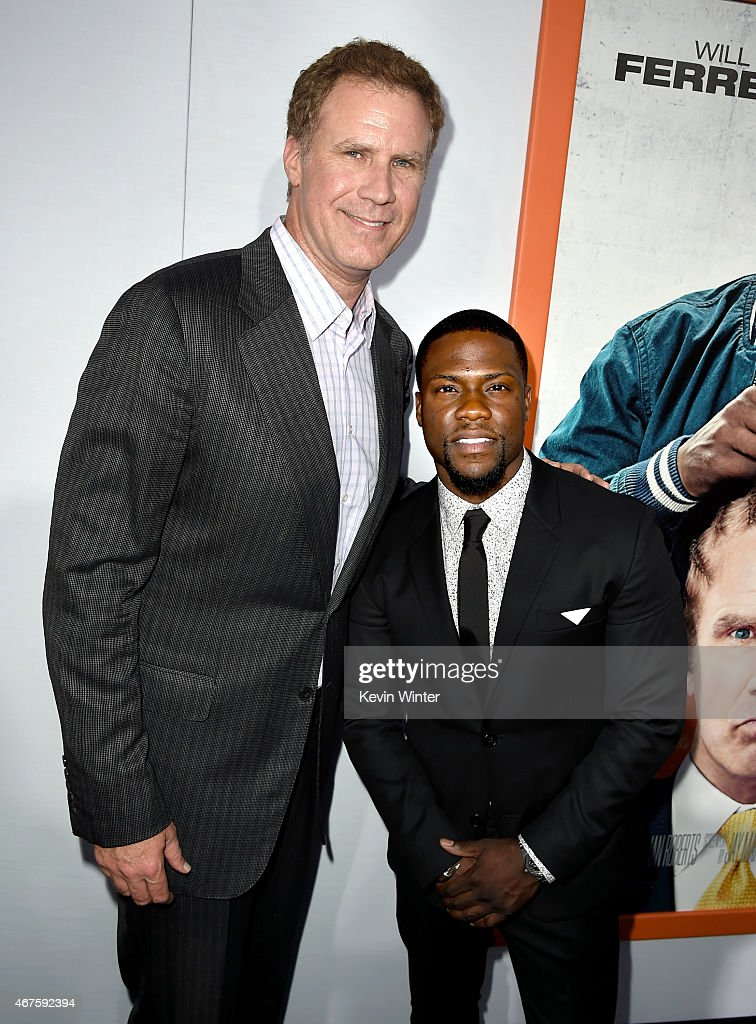 Actors Will Farrell and Kevin Hart arrive at the premiere of Warner Bros Pictures' 'Get Hard' at the Chinese Theatre on March 25 2015 in Los Angeles...