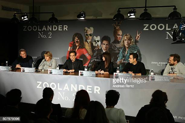 Actors Will Ferrell Owen Wilson director/actor Ben Stiller actress Penelope Cruz writer/actor Justin Theroux and host Steven Gaetjen attend the photo...