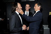Actors Will Forte Colin Hanks and Seth Meyers backstage at the 67th Annual Primetime Emmy Awards at Microsoft Theater on September 20 2015 in Los...
