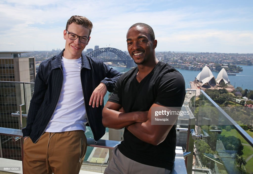 SYDNEY, NSW - (EUROPE AND AUSTRALASIA OUT) Actors Will Poulter and Anthony Mackie pose during a photo shoot in Sydney, New South Wales. The actors were in Sydney to promote their new movie 'Detroit'.
