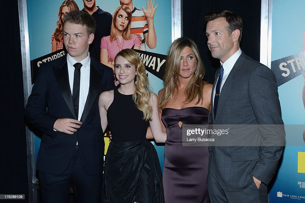Actors <a gi-track='captionPersonalityLinkClicked' href=/galleries/search?phrase=Will+Poulter&family=editorial&specificpeople=4599059 ng-click='$event.stopPropagation()'>Will Poulter</a>, <a gi-track='captionPersonalityLinkClicked' href=/galleries/search?phrase=Emma+Roberts&family=editorial&specificpeople=226535 ng-click='$event.stopPropagation()'>Emma Roberts</a>, <a gi-track='captionPersonalityLinkClicked' href=/galleries/search?phrase=Jennifer+Aniston&family=editorial&specificpeople=202048 ng-click='$event.stopPropagation()'>Jennifer Aniston</a> and <a gi-track='captionPersonalityLinkClicked' href=/galleries/search?phrase=Jason+Sudeikis&family=editorial&specificpeople=4232997 ng-click='$event.stopPropagation()'>Jason Sudeikis</a> attend the 'We're The Millers' New York Premiere at Ziegfeld Theater on August 1, 2013 in New York City.