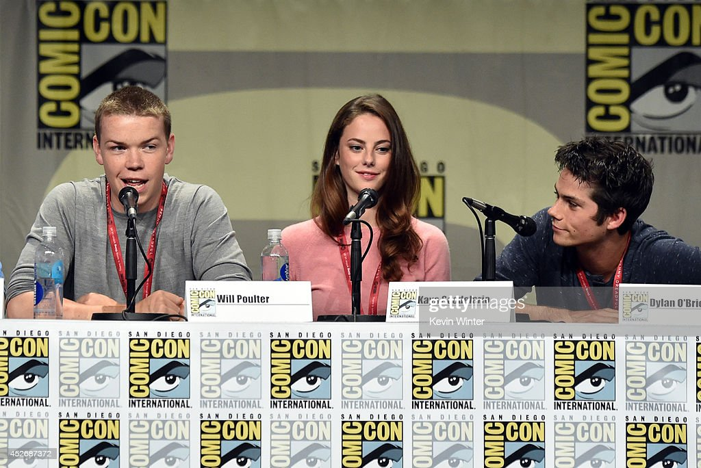 Actors Will Poulter, Kaya Scodelario and Dylan O'Brien attend the 20th Century Fox presentation during Comic-Con International 2014 at San Diego Convention Center on July 25, 2014 in San Diego, California.