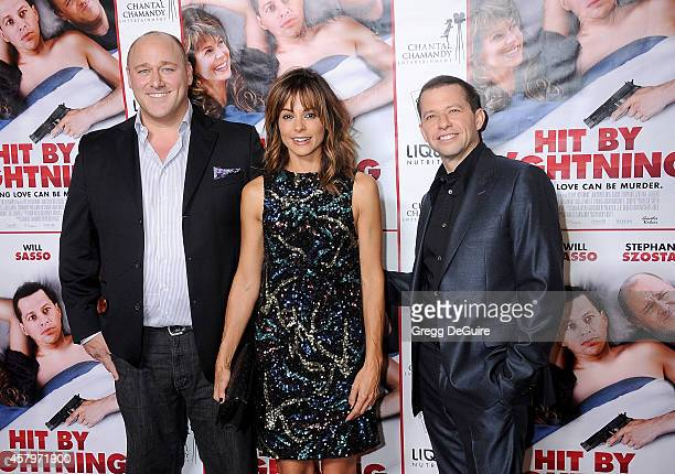 Actors Will Sasso Stephanie Szostak and Jon Cryer arrive at the Los Angeles premiere of 'Hit By Lightning' at ArcLight Hollywood on October 27 2014...