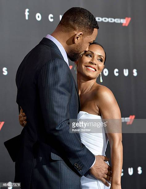 Actors Will Smith and Jada Pinkett Smith arrive at the premiere of Warner Bros Pictures' 'Focus' at the Chinese Theatre on February 24 2015 in Los...