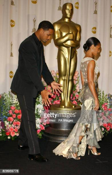 Actors Will Smith and Jada Pinkett Smith at the Kodak Theatre in Los Angeles during the 76th Academy Awards Jada is wearing a dress by Valentino Will...