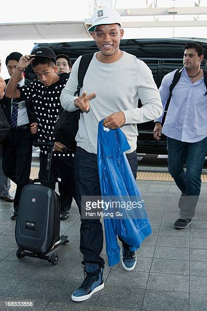 Actors Will Smith and Jaden Smith are seen on departure at Incheon International Airport on May 8 2013 in Incheon South Korea