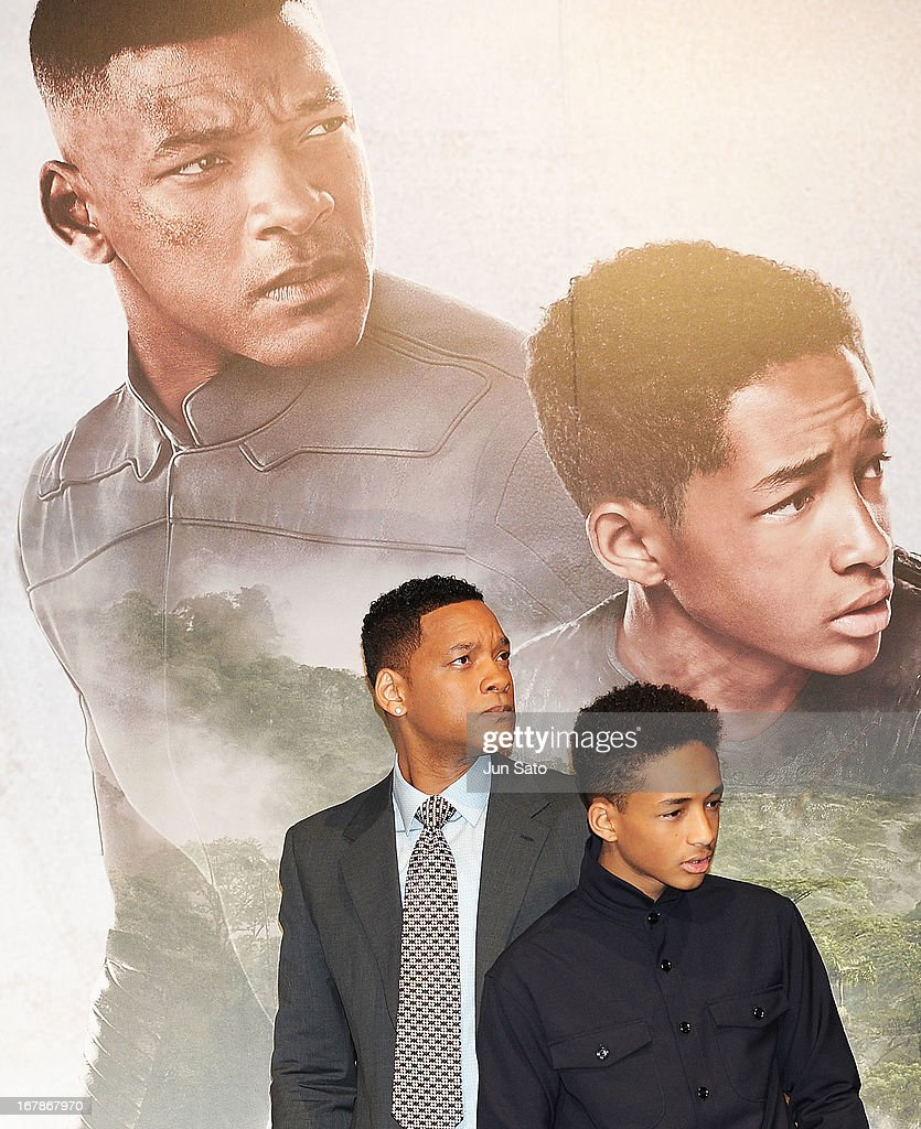 Actors <a gi-track='captionPersonalityLinkClicked' href=/galleries/search?phrase=Will+Smith+-+Actor+-+Born+1968&family=editorial&specificpeople=156403 ng-click='$event.stopPropagation()'>Will Smith</a> and <a gi-track='captionPersonalityLinkClicked' href=/galleries/search?phrase=Jaden+Smith&family=editorial&specificpeople=709174 ng-click='$event.stopPropagation()'>Jaden Smith</a> attend 'After Earth' press conference at the Ritz-Carlton on May 2, 2013 in Tokyo, Japan. The film will open on June 21 in Japan.