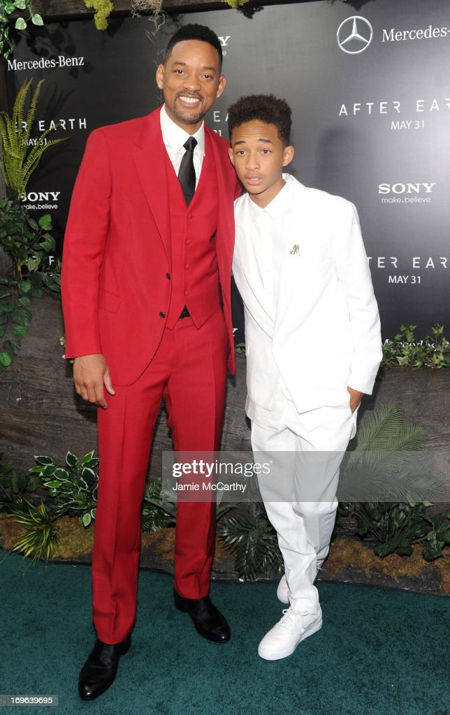 Actors Will Smith (L) and Jaden Smith attend Columbia Pictures and Mercedes-Benz Present the US Red Carpet Premiere of AFTER EARTH at Ziegfeld Theatre on May 29, 2013 in New York City.