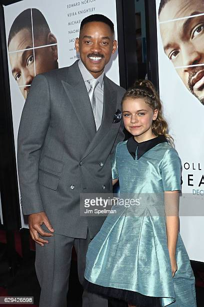 Actors Will Smith and Kylie Rogers attend the 'Collateral Beauty' world premiere at Frederick P Rose Hall Jazz at Lincoln Center on December 12 2016...
