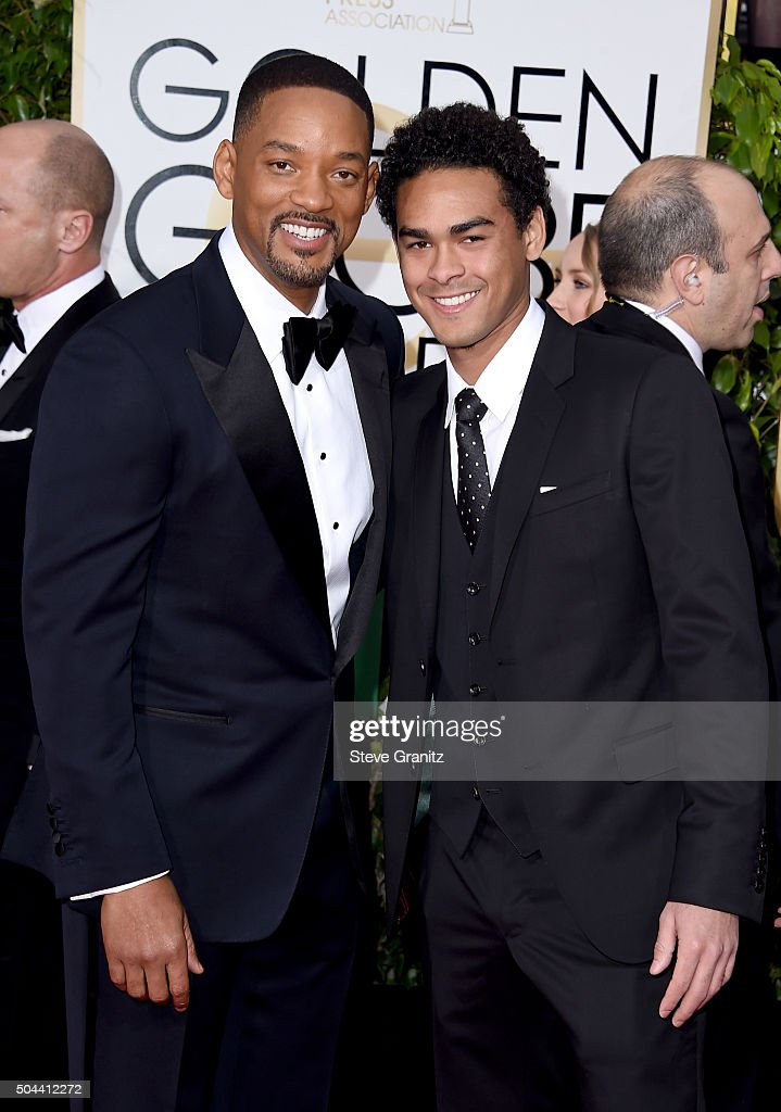 Actors Will Smith (L) and Trey Smith attend the 73rd Annual Golden Globe Awards held at the Beverly Hilton Hotel on January 10, 2016 in Beverly Hills, California.
