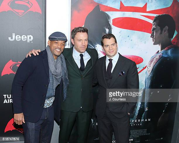 Actors Will Smith Ben Affleck and Henry Cavill attend the 'Batman V Superman Dawn Of Justice' New York Premiere at Radio City Music Hall on March 20...