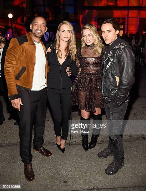 Actors Will Smith Cara Delevingne Margot Robbie and Jared Leto attend the 2016 MTV Movie Awards at Warner Bros Studios on April 9 2016 in Burbank...