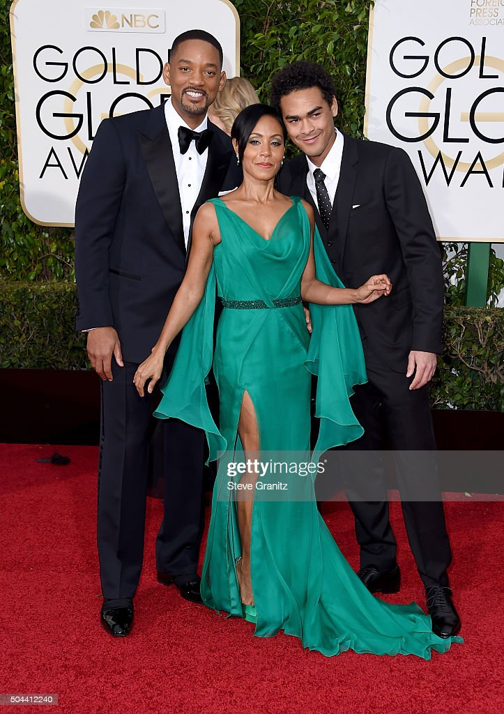 Actors Will Smith (L), Jada Pinkett Smith and Trey Smith (R) attend the 73rd Annual Golden Globe Awards held at the Beverly Hilton Hotel on January 10, 2016 in Beverly Hills, California.
