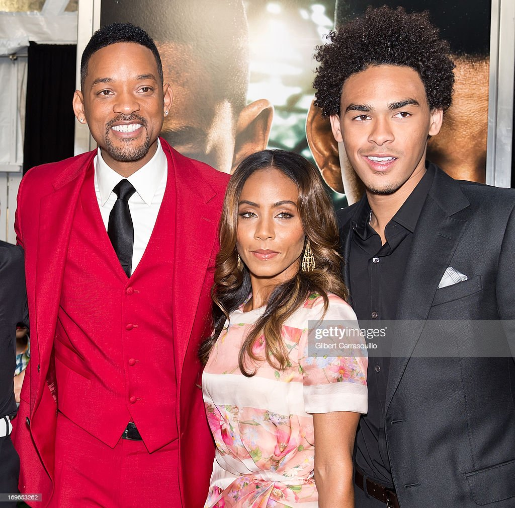 Actors Will Smith, Jada Pinkett Smith and Trey Smith attend the 'After Earth' premiere at Ziegfeld Theater on May 29, 2013 in New York City.