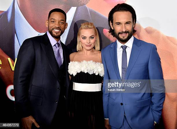 Actors Will Smith Margot Robbie and Rodrigo Santoro arrive at the premiere of Warner Bros Pictures' 'Focus' at the Chinese Theatre on February 24...