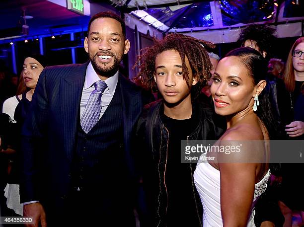 Actors Will Smith son Jaden Smith and his wife Jada Pinkett Smith pose at the after party for the premiere of Warner Bros Pictures' 'Focus' at the W...