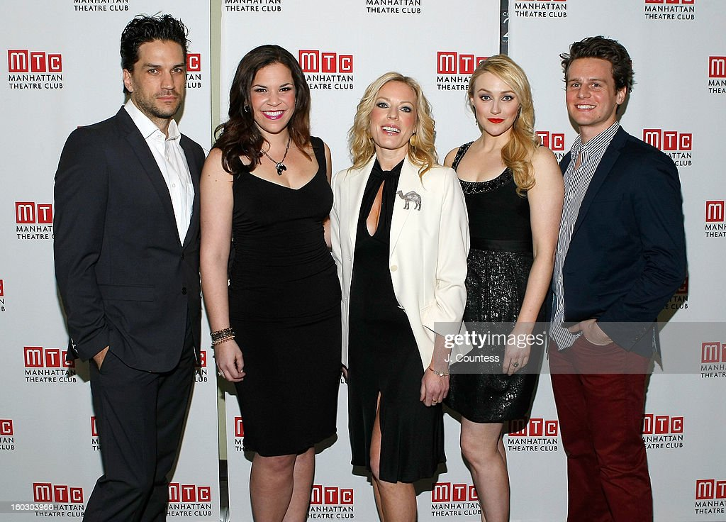 Actors Will Swenson, Lindsay Mendez, Sherie Rene Scott, Betsy Wolfe and Jonathan Groff attend the 2012 Manhattan Theatre Club Benefit: An Intimate Night at Jazz at Lincoln Center on January 28, 2013 in New York City.