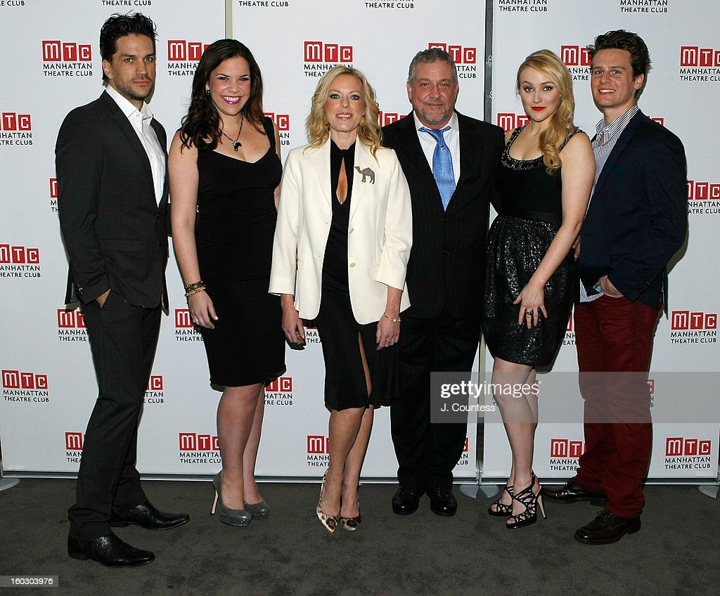 Actors Will Swenson, Lindsay Mendez, Sherie Rene Scott, director Michael Bush, actress Betsy Wolfe and actor Jonathan Groff attend the 2012 Manhattan Theatre Club Benefit: An Intimate Night at Jazz at Lincoln Center on January 28, 2013 in New York City.