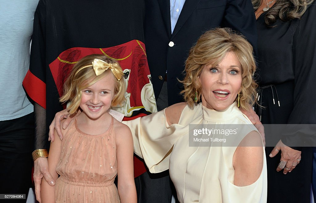 Actors Willa Miel Pogue and <a gi-track='captionPersonalityLinkClicked' href=/galleries/search?phrase=Jane+Fonda&family=editorial&specificpeople=202174 ng-click='$event.stopPropagation()'>Jane Fonda</a> attend the premiere of Season 2 of the Netflix Original Series 'Grace & Frankie' at Harmony Gold on May 1, 2016 in Los Angeles, California.