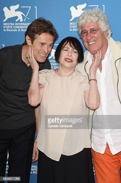 Actors Willem Dafoe Adriana Asti and Ninetto Davoli attends the 'Pasolini' photocall during the 71st Venice Film Festival at Palazzo del Cinema on...