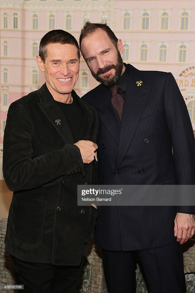 Actors Willem Dafoe and Ralph Fiennes attend 'The Grand Budapest Hotel' premiere at Alice Tully Hall on February 26 2014 in New York City